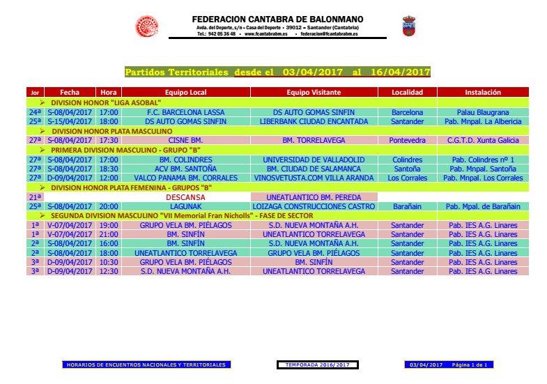 Captura de los horarios ofrecidos por la FCBM