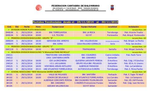 Horarios publicados por la Federación a las 19:01 de hoy