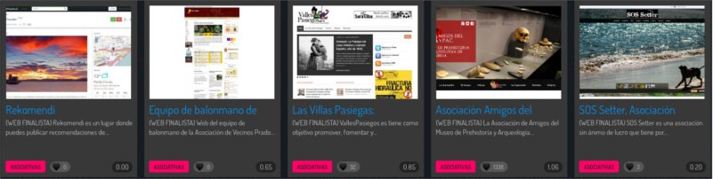 Las cinco webs finalistas en el apartado de asociativas