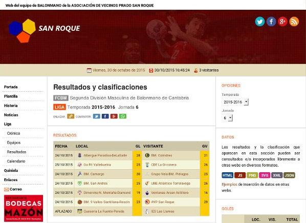 Página de resultados y clasificación del pasado 30 de octubre